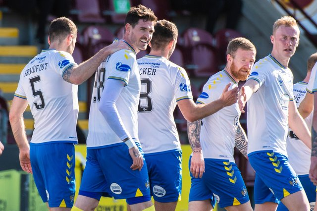 Kyle Lafferty celebrates scoring his and Kilmarnock's third goal of the 4-0 Scottish Cup win against Stenhousemuir