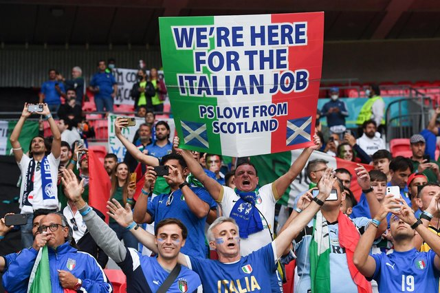 Scotland flags were spotted among the Italy crowd in the Euro 2020 final at Wembley. (Photo by Andy Rain - Pool/Getty Images)
