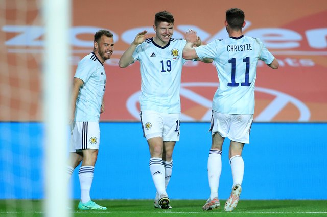 Kevin Nisbet celebrates after scoring his first Scotland goal in the 2-2 draw with Netherlands in Faro, Portugal. (Photo by Fran Santiago/Getty Images)