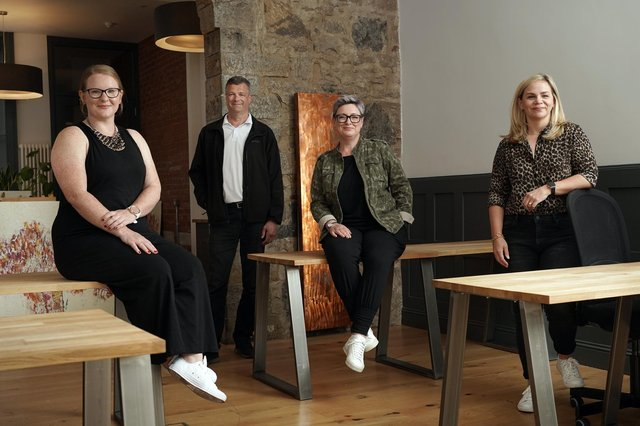 (L to R) Kirsten Paul, associate director and head of Clark.tech; Paul Atkinson, chair at Clark; Lesley Brydon, managing director at Clark; Angela Hughes, deputy managing director at Clark. Picture: Stewart Attwood