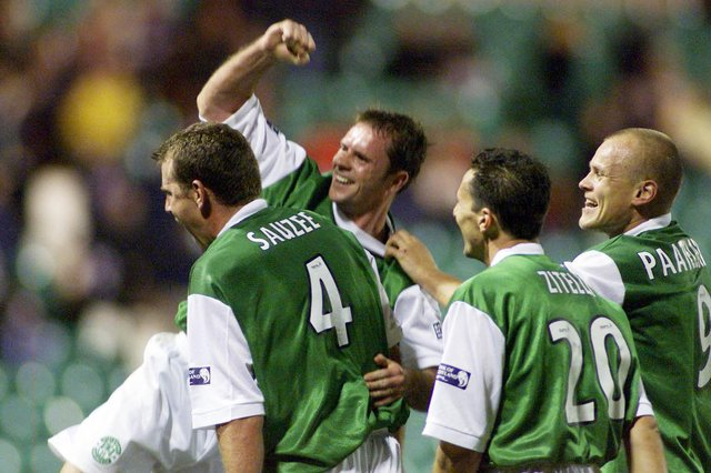 Hibs celebrate their 6-2 win over Hearts in 2000.