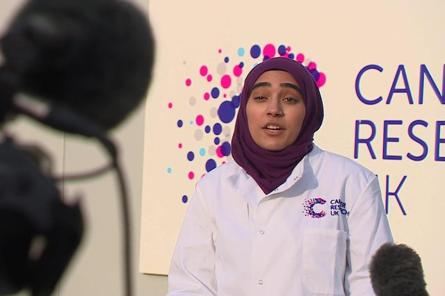 Mahnoor Mahmood, who is doing a PhD in cancer sciences at the University of Glasgow, being interviewed by STV. Picture: contributed.