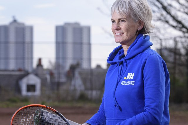 Judy Murray giving children tennis training in Maryhill Park, Glasgow, as part of her work with the Judy Murray Foundation