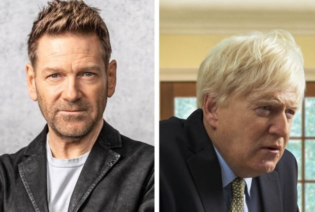Left, Sir Kenneth Branagh, and right, the actor as Prime Minister Boris Johnson in the Sky Original drama This Sceptred Isle.