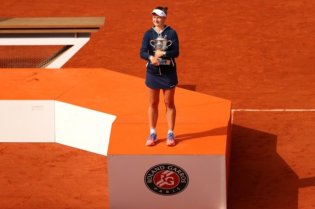 Barbora Krejcikova of Czech Republic with the trophy after her French Open triumph. Picture: Julian Finney/Getty Images