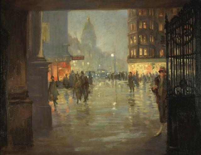 Maule's Corner after Rain, Edinburgh 1925 Robert Easton Stuart (1864–after 1939) Oil on canvas