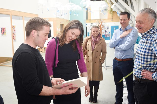 Aileen Campbell, Cabinet Secretary for Communities and Local Government, visits Social Investment Scotland customer Out of the Blue.