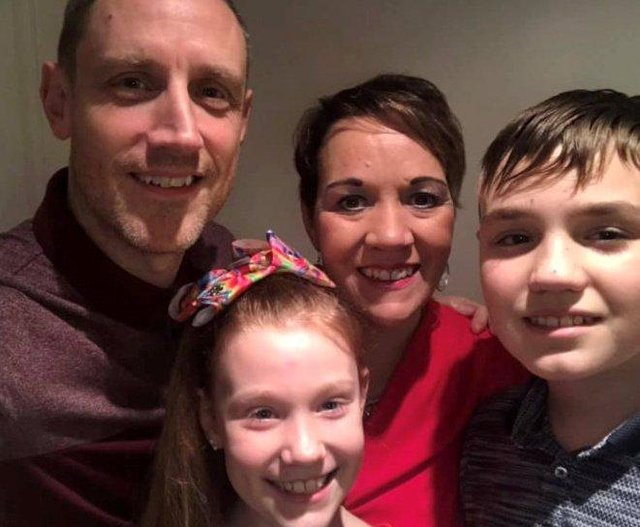 (L-R) Owen, Lauren, Suzanne, and Max Davies. Mum-of-two Suzanne Davies, who was given just a year to live in 2014 after being diagnosed  with aggressive stage four brain tumour, has beaten the odds to still be alive six years later
