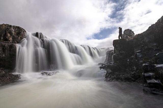 The majestic Kolufoss waterfall, Iceland.
