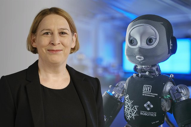 Professor Lynne Baillie and the iCub robot