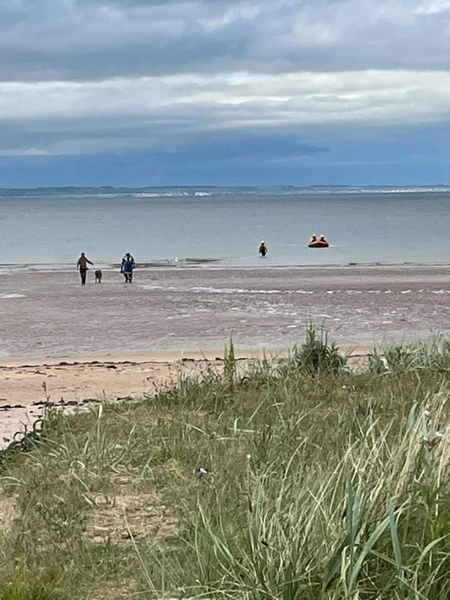 North Berwick Coastguard and RNLI North Berwick Lifeboat were tasked to Broadsands, North Berwick to assist a member of the public with the recovery of their dog (Photo: North Berwick Coastguard Rescue Team).