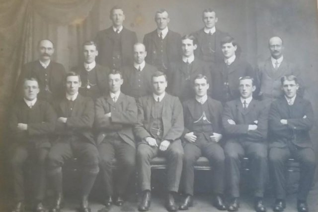 Rangers team photograph from 1907/1908 season, featuring in the middle of the back row Alison's great uncle, Alex Newbigging.