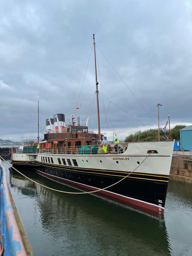 Waverley refloated after bow repairs in dry dock. Picture: Waverley Excursions