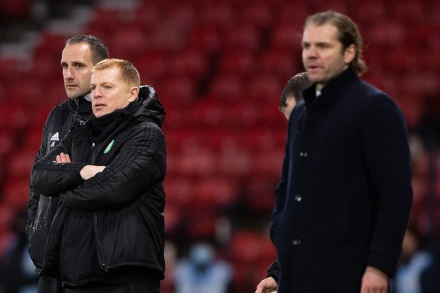 Neil Lennon and Robbie Neilson during the final at Hampden.