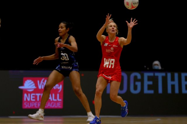 Nicola McCleery in action for the Strathclyde Sirens against Severn Stars in the Vitality Super League.