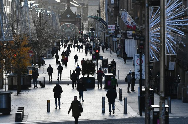 A view of Buchanan Street in Glasgow City Centre during lockdown tier 4.