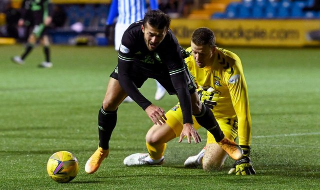 A penalty was awarded to Celtic after Albian Ajeti fell under the challenge of Kilmarnock goalkeeper Colin Doyle. (Photo by Rob Casey / SNS Group)
