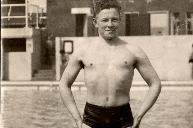 The young Bill Black pictured at Helensburgh outdoor swimming pool