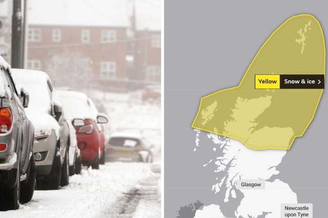 The Met Office has issued a yellow weather warning for snow and ice across large parts of the Scottish Highlands.