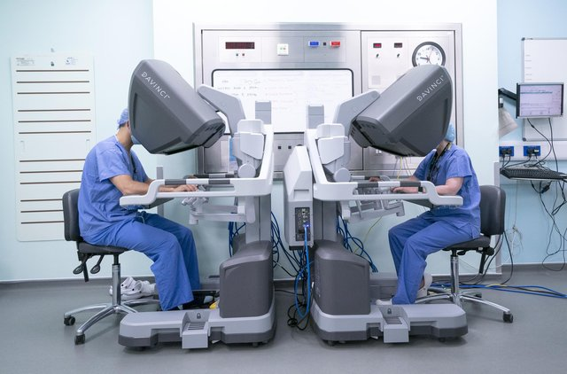 Surgeon operates the surgical robot at Glasgow Royal Infirmary where Health Secretary Humza Yousaf announced the Scottish Government will buy 10 new surgical robots at a total cost of GBP20 million. Picture date: Wednesday June 16, 2021.