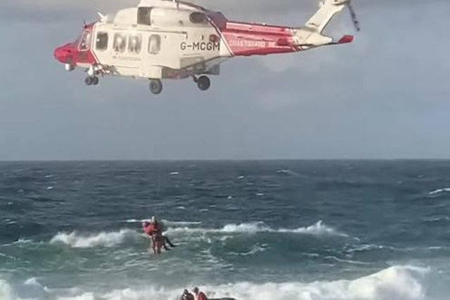 The casualty was winched to safety by a rescue helicopter.