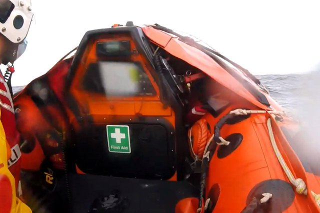 RNLI Anstruther crews set off to rescue a windsurfer.