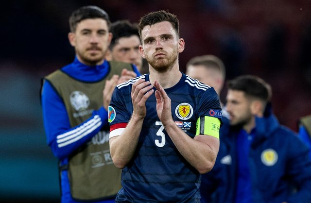 Andy Robertson after Scotland's loss to Croatia. Picture: Craig Williamson/SNS