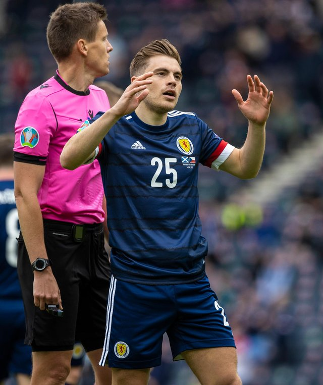 Scotland's James Forrest is left exasperated after almost scoring in the Euro 2020 opening game defeat to the Czech Republic - with the tournament yet to yield a goal for Steve Clarke's men who will be eliminated if they draw another blank in their section closer against Croatia. (Photo by Craig Williamson / SNS Group)