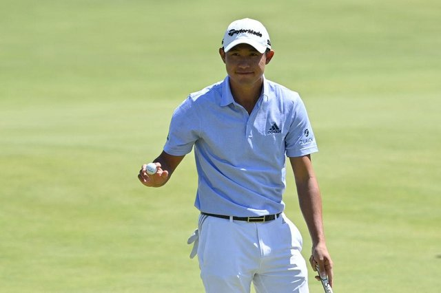 Collin Morikawa reacts after finishing his second round in the 149th Open at Royal St George's in Kent. Picture: Paul Ellis/AFP via Getty Images.