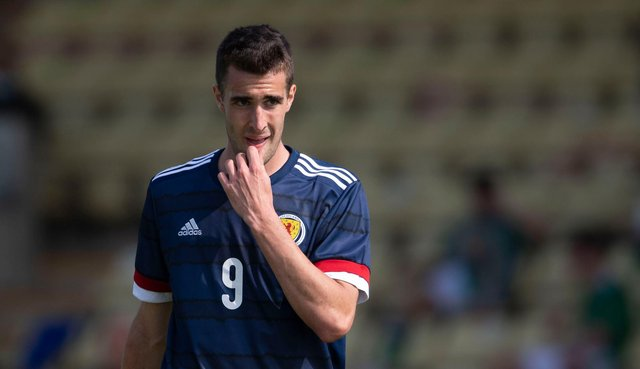 Ewan Urain in pensive mood during his Scotland under-21 debut that saw the Spanish-born-and-raised striker win a penalty that could not prevent Scot Gemmill's men losing out 2-1 in their friendly against Northern Ireland at Dumbarton on Wednesday. (Photo by Craig Foy / SNS Group)