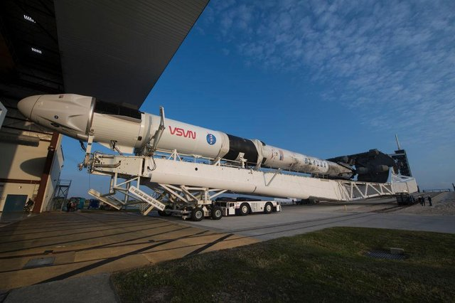 A SpaceX Falcon 9 rocket with the company's Crew Dragon spacecraft onboard is seen at NASA's Kennedy Space Center in Cape Canaveral, Florida. (Getty Images)