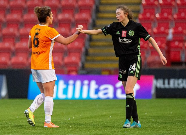 CUMBERNAULD, SCOTLAND - OCTOBER 17: Glasgow City's Jo Love (left) with Tegan Bowie during a Scottish Women's Premier League match between Glasgow City and Celtic, on October 18, 2020, in Cumbernauld, Scotland Love and Bowie(Photo by Ross MacDonald / SNS Group)