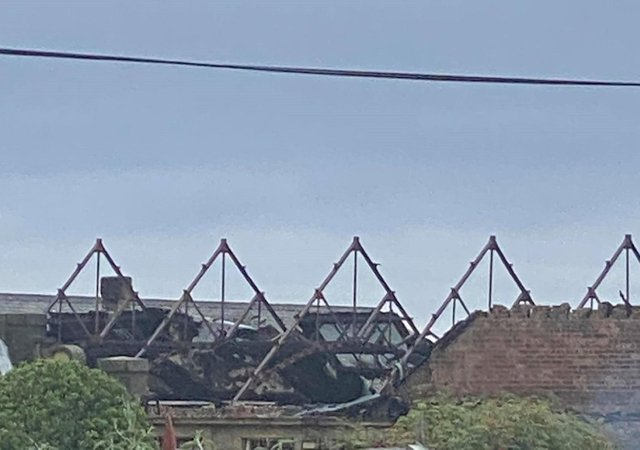 The roof of the building was destroyed by the fire (Pic:Lisa May Young)