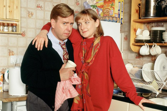 With Timothy Spall in Frank Stubbs Promotes, 1993.