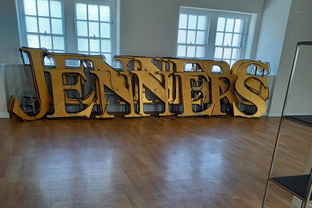 A picture of the letters after they were removed from the Jenners building on Thursday.