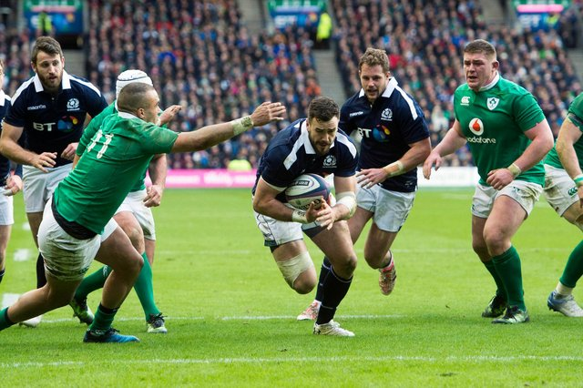 Alex Dunbar scores for Scotland against Ireland in the 2017 Six Nations with a cheeky lineout move. Picture: Bill Murray/SNS
