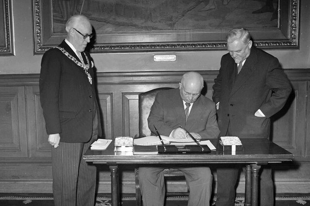 Nikita Khrushchev, seen seated during a 1956 visit to Edinburgh City Chambers with the USSR's Prime Minister, Nikolai Bulganin, was regarded as a liberal reformer, at least relative to other Soviet Communist leaders