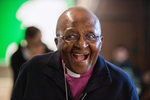 Archbishop Emeritus Desmond Tutu, pictured in 2019, won the Nobel Peace Prize in 1984 for his role as 'a unifying leader figure in the non-violent campaign to resolve the problem of apartheid in South Africa' (Picture: Rodger Bosch/AFP via Getty Images)