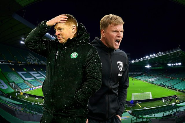 Eddie Howe (right) has been linked with succeeding Neil Lennon as Celtic boss