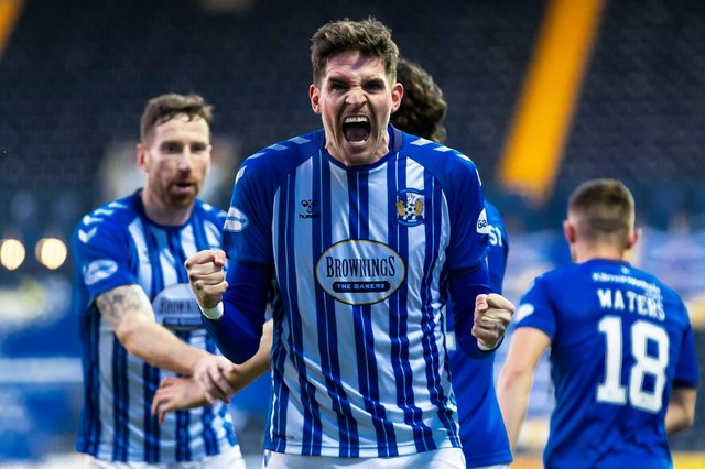 Kyle Lafferty celebrates after scoring to make it 2-0 to Kilmarnock - but the match ended 3-3. (Photo by Roddy Scott / SNS Group)