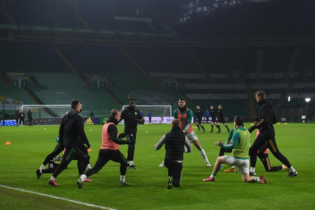 Celtic warm up ahead of their match with Hamilton Accies in the Scottish Premiership. Picture: SNS