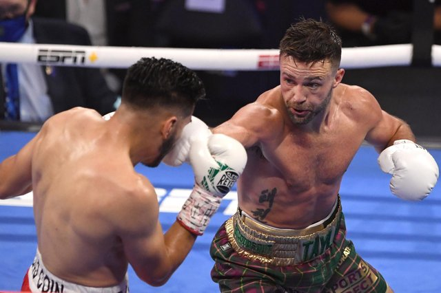 Josh Taylor takes the fight to Jose Ramirez battle during their world unification bout in Las Vegas. Picture: David Becker/Getty Images