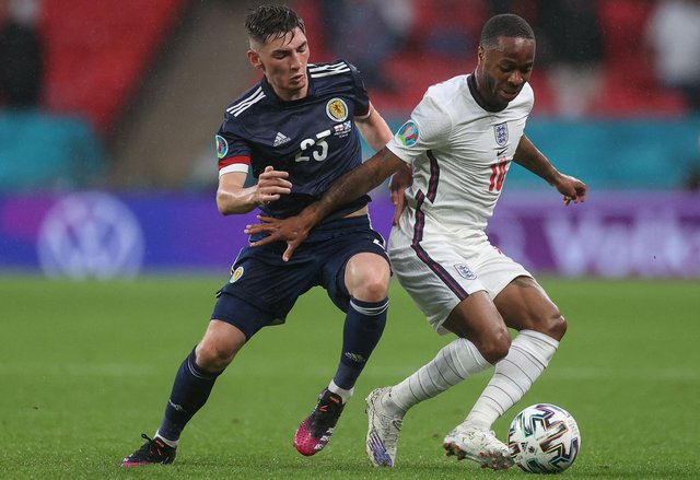 Scotland's Billy Gilmour, seen challenging Raheem Sterling, was man of the match in the game against England (Picture: Carl Recine/pool/AFP via Getty Images)