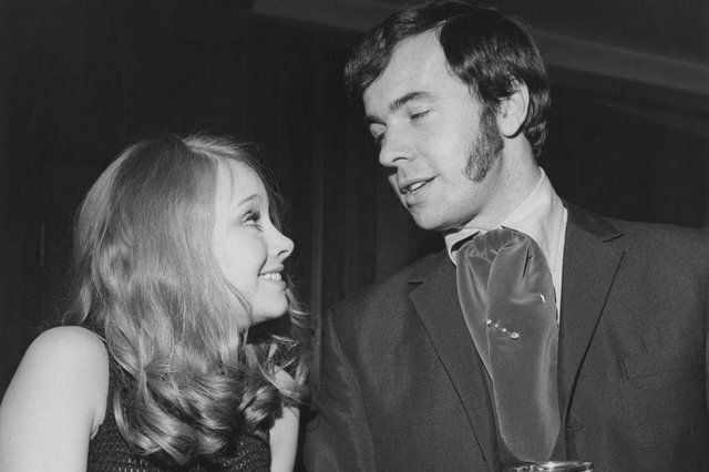 Man about town Barry Mason with English actress Linda Hayden in 1968. (Picture: Getty Images)