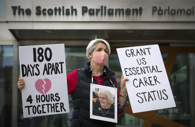 The care home relatives group protested outside the Scottish Parliament in September calling for changes to visiting rules.The group says families have still not all been assured they will be able to see loved ones.