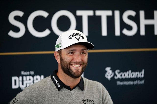 Jon Rahm talks to the media ahead of his abrdn Scottish Open debut at The Renaissance Club. Picture: Luke Walker/Getty Images.