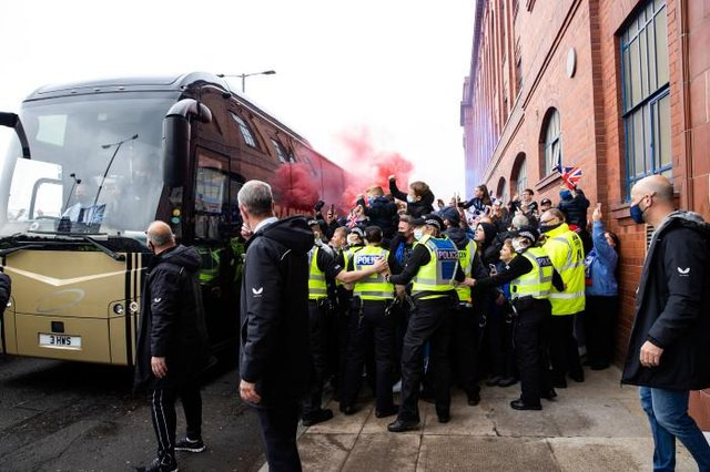 Rangers fans greet the team bus during the Scottish Premiership match  between Rangers and Aberdeen  at Ibrox Stadium, on May 15, 2021, in Glasgow, Scotland. (Photo by Craig Williamson / SNS Group)