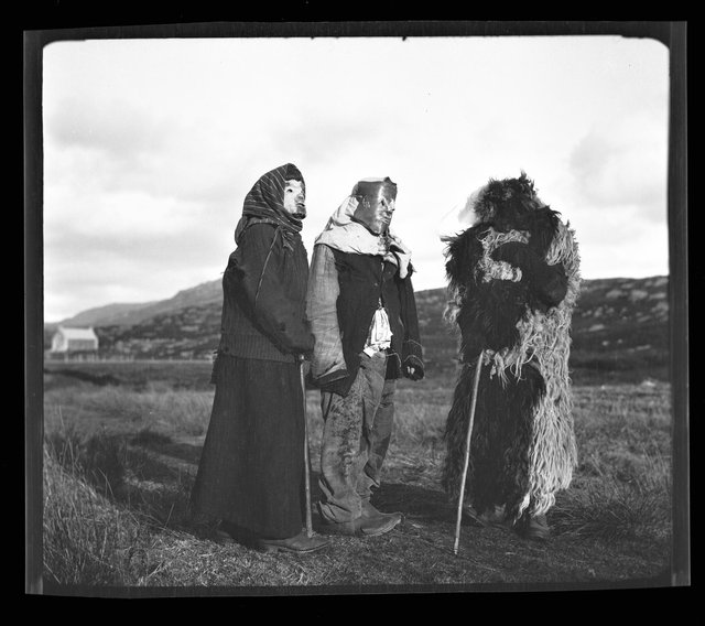 Young people on South Uist celebrate Samhain in 1932 with a scooped out sheep's head often used as a mask. PIC: South Uist Guisers, 1932, from Margaret Fay Shaw Photographic Archive, NTS Canna House.