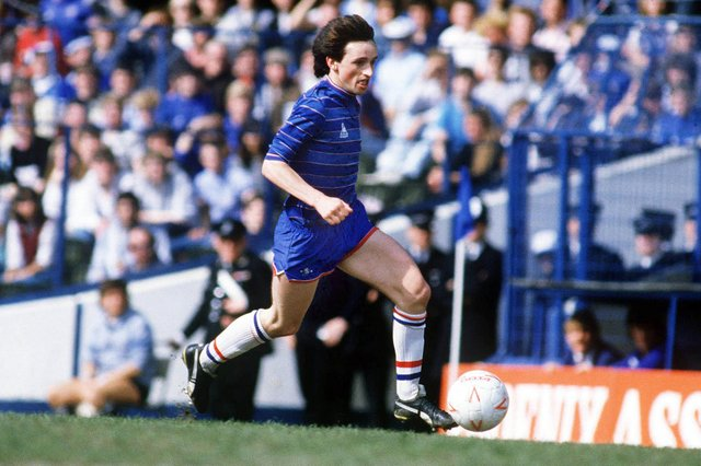 Pat Nevin flies down the wing for Chelsea against Sheffield Wednesday in May 1985: Photo by Colorsport/Shutterstock