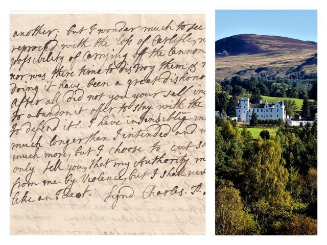 The original letter was found in the collection of Blair Castle, the family seat of Lord George Murray, the Jacobite commander. PIC: Contributed.